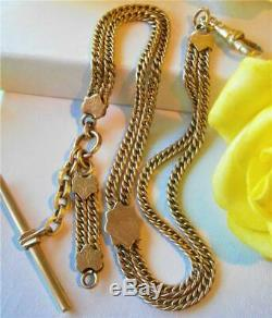 Antique Victorian C1890 Gold Gf Double Strand T/bar Pocket Watch Fob Chain
