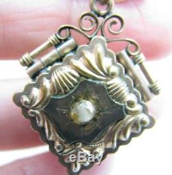Antique Victorian Gold Filled Fancy Pocket Watch Chain Photo Locket Fob Necklace