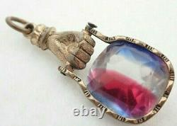 Antique Victorian Gold Filled Glass Figa Hand Pocket Watch Chain Pendant Fob