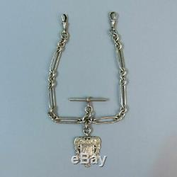 Antique Victorian Silver Double Clip Pocket Watch Albert Chain & Fob 52g
