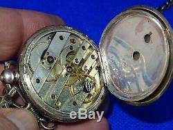 Antique Victorian Sterling Silver Open Faced Pocket Watch With Fob & Chain