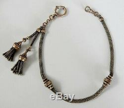 Antique Victorian Sterling Silver & Rose Gold Filled Pocket Watch Fob Chain J940