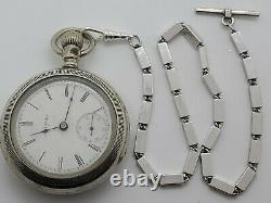 Antique Working 1904 ELGIN Large Gents Silver Victorian Pocket Watch 18s withChain