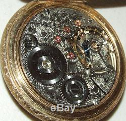 Antique Working 1904 ELGIN Veritas 21J Gold Railroad Pocket Watch 18s with Chain