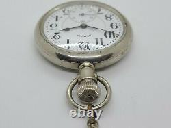 Antique Working 1922 ILLINOIS 17J Gents 16s Pocket Watch with Belt Loop Chain