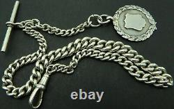 Antique silver albert pocket watch guard chain circa 1918 with silver fob medal