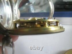 Antique silver pocket watch John Forrest with silver pocket watch chain