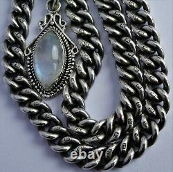 Antique solid silver double pocket watch albert chain with silver & moonstone fob