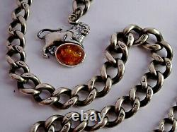 Antique solid silver pocket watch albert chain with silver & amber lion fob