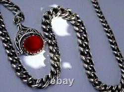 Antique solid silver pocket watch albert chain with silver & gem stone swivel fob