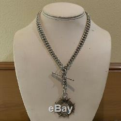 Antique sterling double Albert pocket watch chain necklace wreath fob maltese