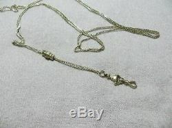 Antq. Victorian Watch Muff Long Chain withHand Hook Holder 10-14k Solid Gold 52 L
