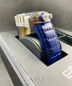 BOMBERG BOLT-68 Blue Leather Chronograph with Chain & Pocket Watch $1395 New