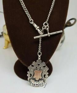 Beautiful Antique 1900's Solid Silver Pocket Watch Chain & Fob 35.5 G