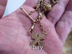 Beautiful Antique 9 Carat Gold Albertina Pocket Watch Chain With Lovely Fob