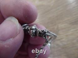 Beautiful Antique Silver Albertina Pocket Watch Chain With Silver Tassel