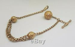 Beautiful Antique Solid 9k Gold Albert Pocket Watch Chain With Ball Fob 10.8 G