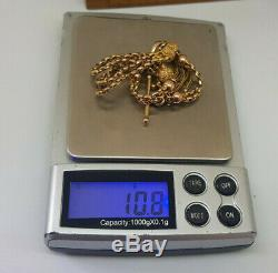 Beautiful Antique Solid 9k Gold Albert Pocket Watch Chain With Tassel 10.8 G