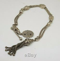 Beautiful Antique Solid Silver Albert Pocket Watch Chain With Tassel&fob 17.2 G