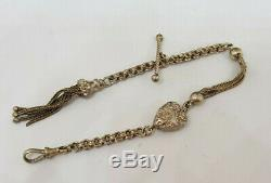 Beautiful Antique Solid Silver Albert Pocket Watch Chain With Tassel&fob 8.8 G