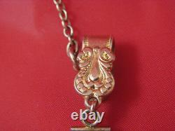 Beautiful Antique Victorian 12k Gold Filled Ornate Pocket Watch Fob & Chain