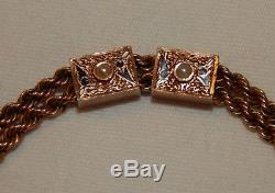 Beautiful old 14k Solid Gold watch chain with 2 pearl sides 12 dwt 18.6 gram