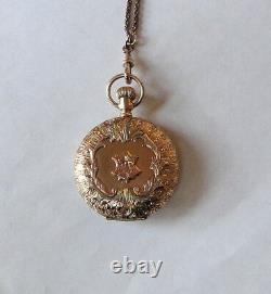 Best Of The Best! 14k 4 Color Gold Diamond Pocket Watch With 30 14k Slide Chain