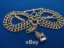 CHESTER 1908 DOUBLE ALBERT POCKET WATCH CHAIN SILVER LEO LION PASSANT FOB 52.7g