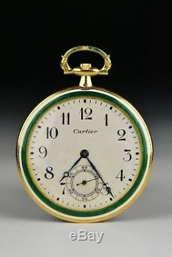 Cartier 18k Gold & Guilloche Enamel Pocket Watch with Matching Chain
