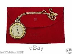 Cartier France Pocket Watch Rock Crystal 18k YG/Platinum with Chain Circa. 1920's