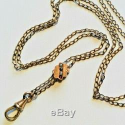 Chatelaine Pocket Watch Chain Seed Pearl Garnet Slide Necklace 48 gold fill