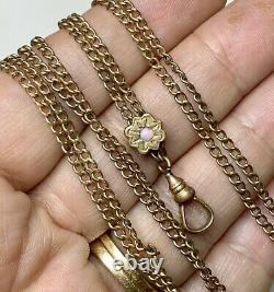 Chatelaine pocket Watch Chain with Opal. 48 Slider Necklace, Guard Chain
