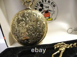 DISNEY SWISS MICKEY MOUSE ENGINEER POCKET WATCH With CHAIN & FOB LOWERED PRICE
