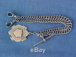 Double Albert Sterling Silver Pocket Watch Chain Chester 1921 Fob W Hair Haseler