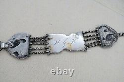 Dutch Silver 1800's WATCH KEY CHAIN FOB Sterling Chatelaine