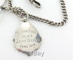 EARLY 1900s ENGLISH STERLING SILVER POCKET WATCH CHAIN & T/BAR + 1916 FOB