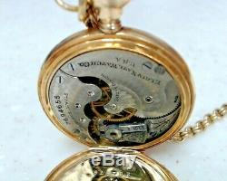 ELGIN 14K SOLID GOLD FANCY DIAL 7J POCKET WATCH With DIAMOND ON CASE & GF CHAIN