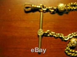 ESTATE SALE ANTIQUE VICTORIAN SLIDE POCKET WATCH CHAIN With PEARLS