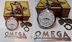 Excellent Antique Omega Swiss Pocket Watch 800 Silver Case With Chain & Box