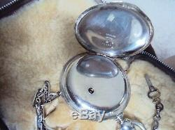 Elgin 18s Silver Hunter Case Pocket Watch 6 Ounces With Silver Chain And Key