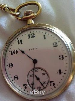 Elgin Man's Dial Pocket Watch with Chain & Knife & Solid Gold Pin Runs