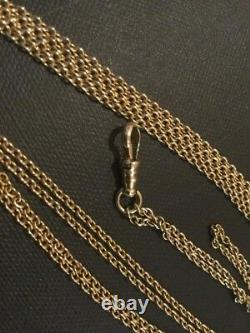 Estate14K Gold Pocket Watch Chain With Dog Clip 13grams Excellent Condition