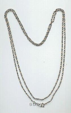 Extra Long Solid Silver Niello Rose Gold Pocket Watch Chain Necklace 143 CM
