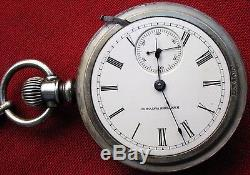 Fine Matching 1885 Coin Silver Pocket Watch & Abalone Coin Silver Watch Chain