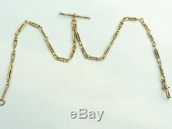 Fab Heavy Solid 9ct Gold Double Albert Pocket Watch Trombone Link Chain Necklace