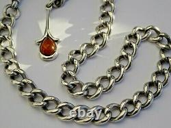 Fabulous antique solid silver pocket watch albert chain with silver & amber fob