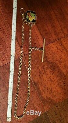 Fancy 14kt Solid Gold Pocket Watch Chain withGold Filled Enamel Fob 19g Not Scrap