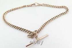 Fine Antique 9ct Rose Gold Curb link T Bar Fob Pocket Watch Chain 33.2g
