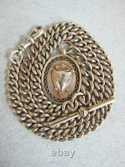 Fine Antique Solid Sterling Silver Albert Pocket Watch Chain & Fob 56g 19 Inch