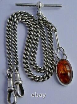 Fine antique solid silver double pocket watch albert chain with silver & amber fob